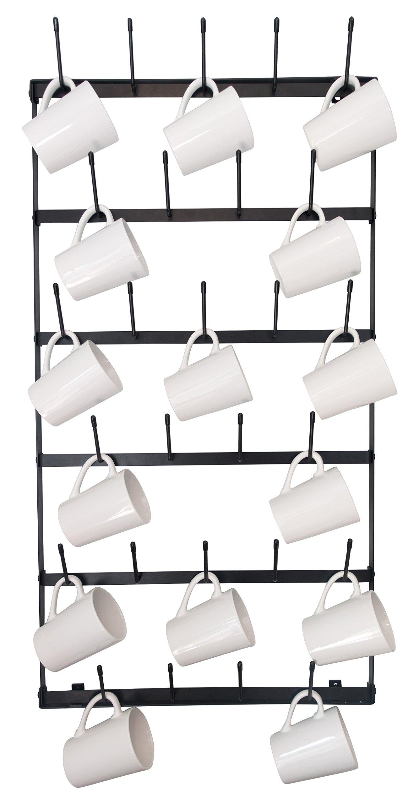 Wall Mounted Mug Rack - 6 Row Metal Storage Display Organizer For Coffee Mugs, Tea Cups, Mason Jars, and More.
