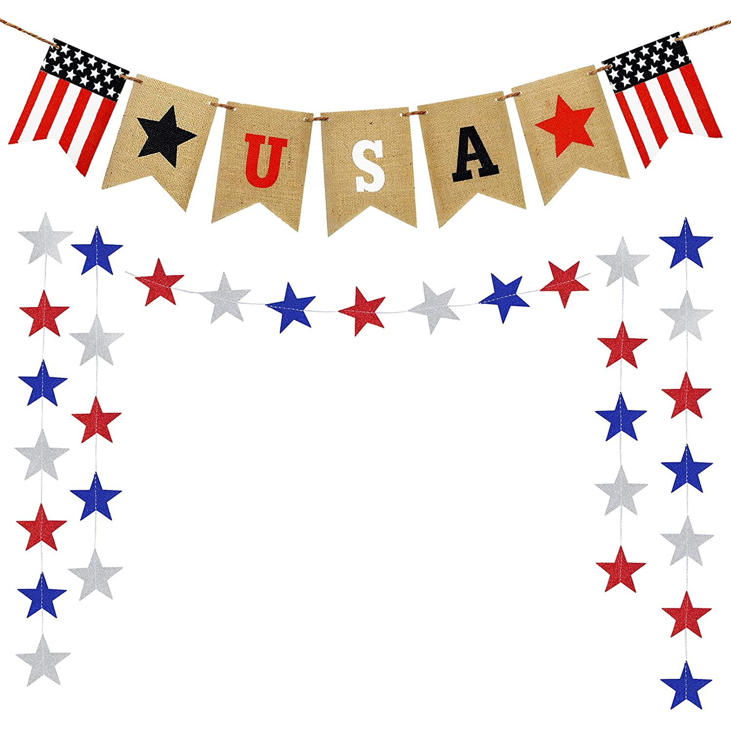 Korlon 4th of July decor Banner, American Flag Banner & Star Garland Patriotic Decorations for The Home, USA Flag Independence Day Celebration Party Supplies