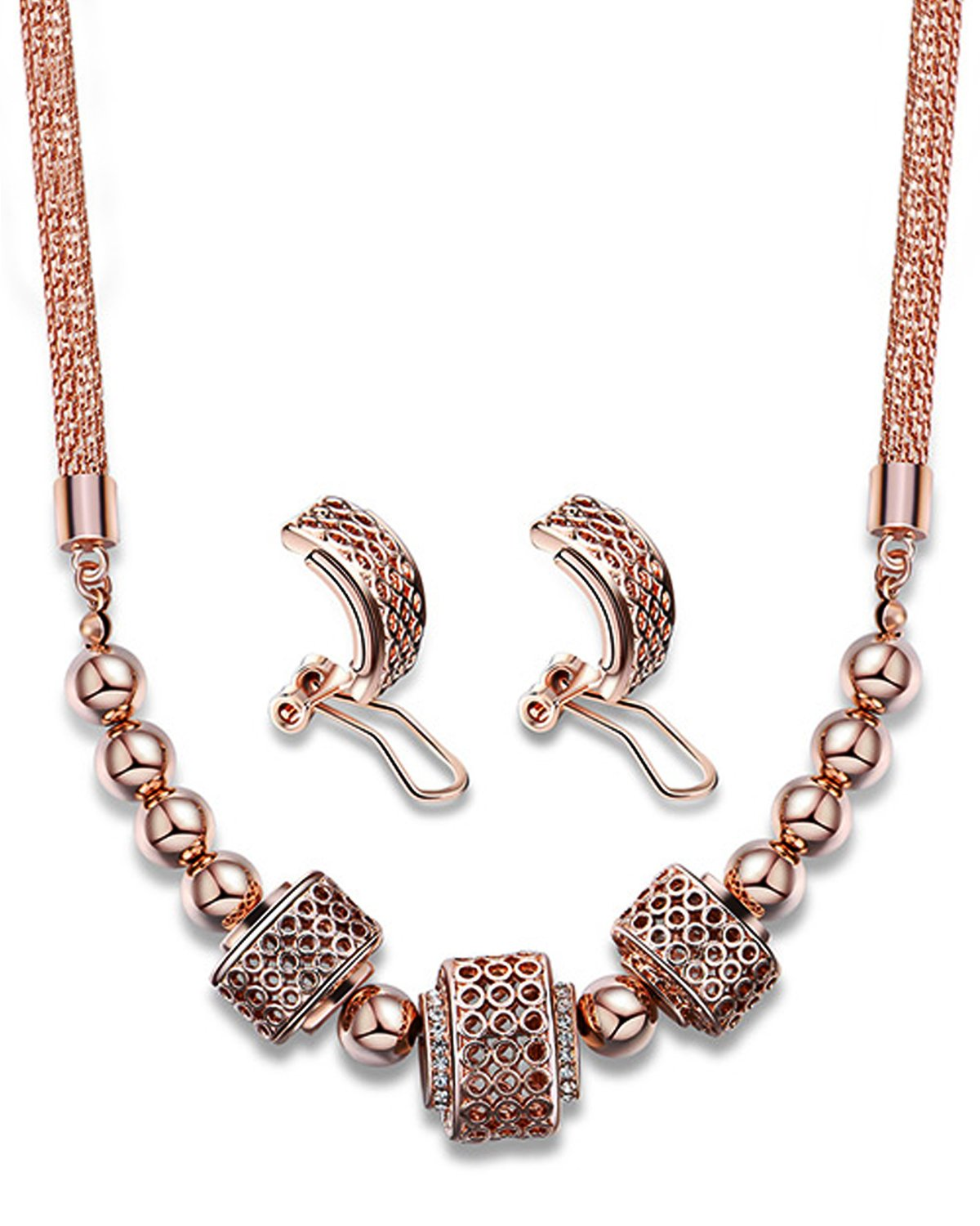 Young & Forever Elite Mesmerizing Prom Wedding Overgild Gold Plated Jewelry Sets Necklace Earrings Set for Women / Girls stylish party wear N669