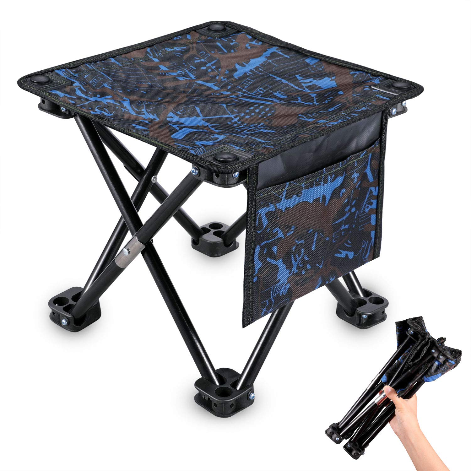 KUYOU Folding Camping Stool, Portable Outdoor Mini Chair Camping Small Seat Barbeque Stool Hold up to 220 lbs for Fishing BBQ Hiking Gardening and Beach, Travel (Blue, L(13.5'')) by KUYOU