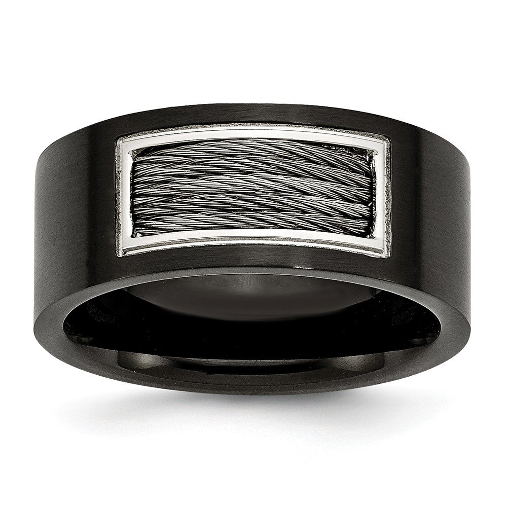 Plated Wire Inlay Wedding Band Ring Jewelry Stores Network Mens 10mm Stainless Steel Black IP