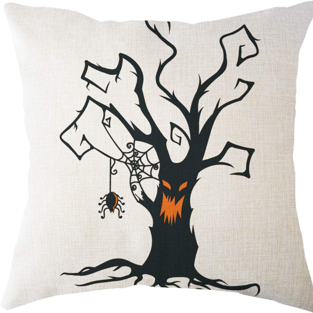 NUWFOR Halloween Pillow Cases Linen Sofa Tree Cushion Cover Home Decor(B)