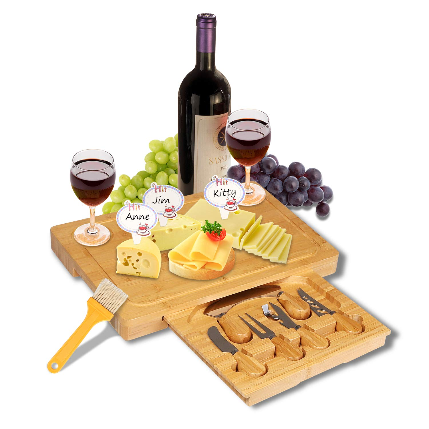 Distinguish Present Bamboo Cheese Board with Slide-Out Drawer,Wood Charcuterie Platter Serving Meat Board with Cutlery Set with 5 Stainless Steel Knife Fork and Server Set Cheese tray Chopping board