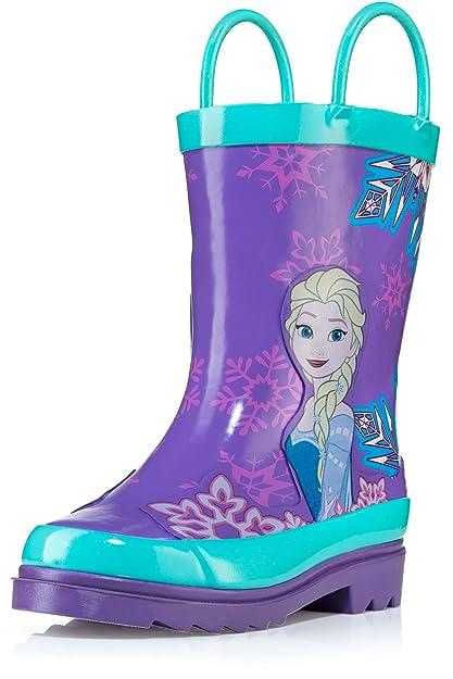 c8d8f237d03 Disney Kids Girls' Frozen Anna and Elsa Character Printed Waterproof  Easy-On Rubber Rain Boots (Toddler/Little Kids)