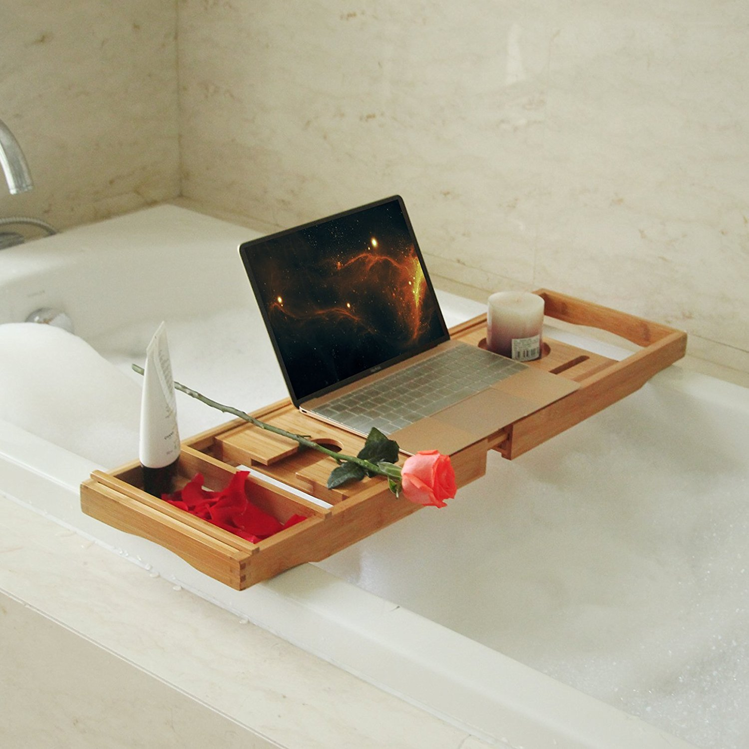 BOSSJOY Luxury Wood Bamboo Bathtub Bath Tub Caddy Tray with Extending Sides Built in Book Tablet Phone Wineglass Holder COMIN18JU094404