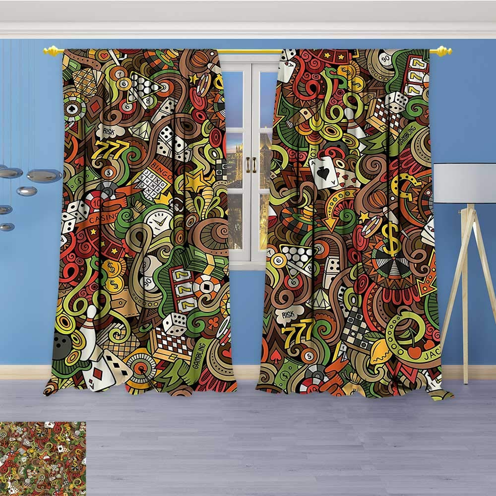 Thermal Insulated Blackout Window Room Doodles Style Bingo Excitement Checkers King Tambourine Vegas Bathroom Top Extra Long Curtains Set of 2 Panels 72W x 84L Inch by Vanfan