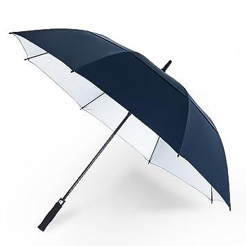 """YAPASPT 62"""" Paraguas de Golf Extra Grande Protección UV A Prueba de Viento Parasol Doble"""