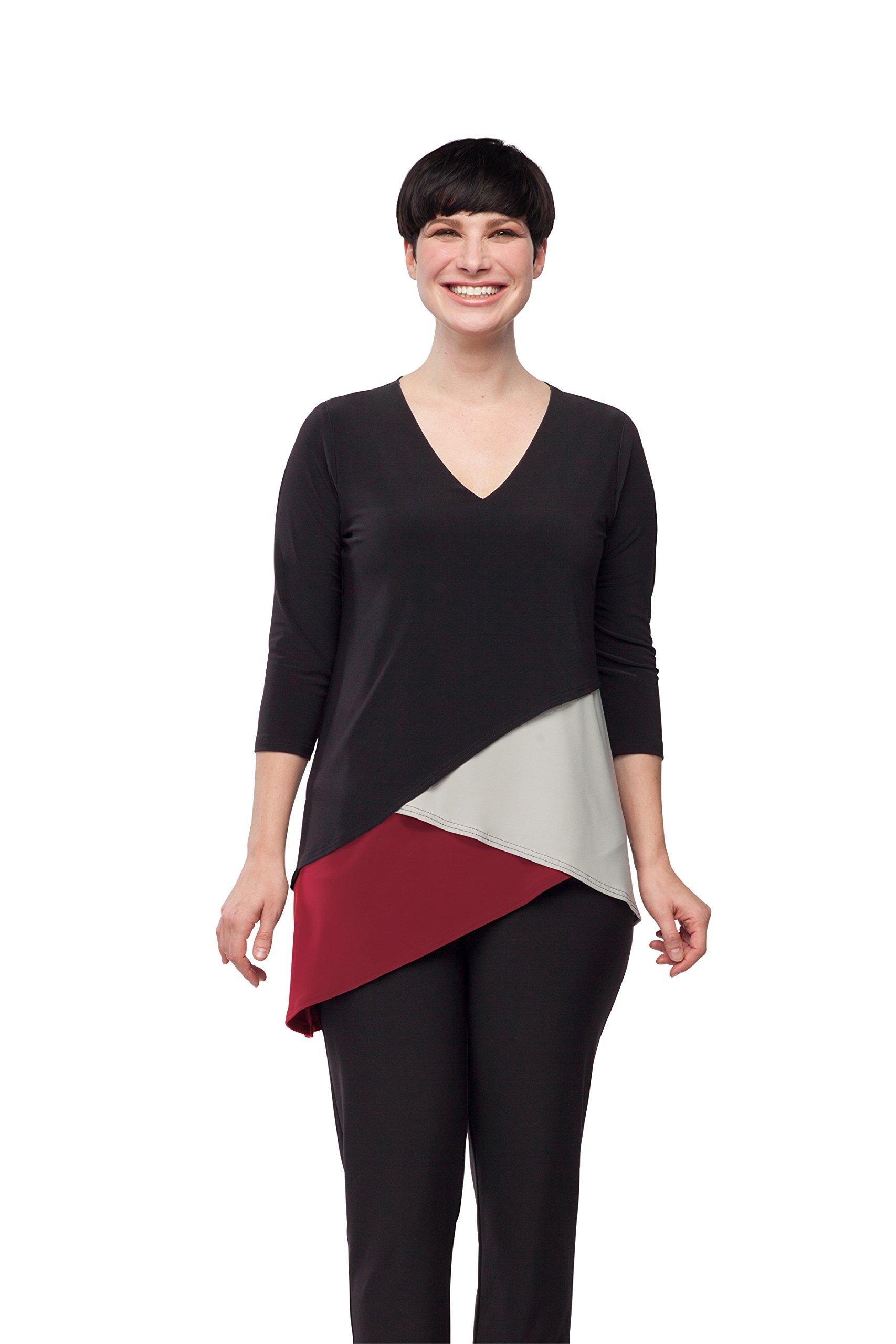 Sympli Women's Matrix Layer Top-Scarlett/Black/Oatmeal (Scarlett/Black/Oatmeal, 14-3Q Sleeve)