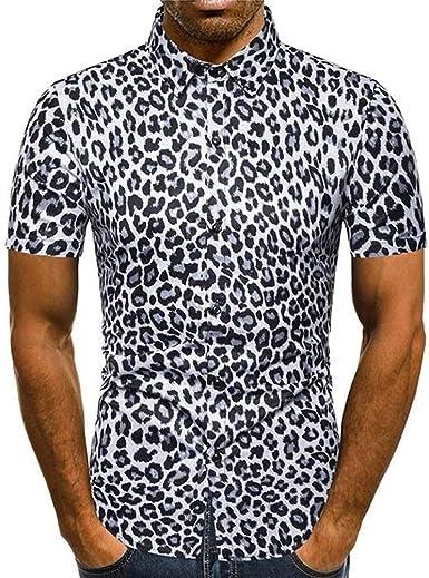 De los Hombres Personalidad Delgada Camisa De Manga Corta De Seda De Leopardo Mediante: Amazon.es: Ropa y accesorios