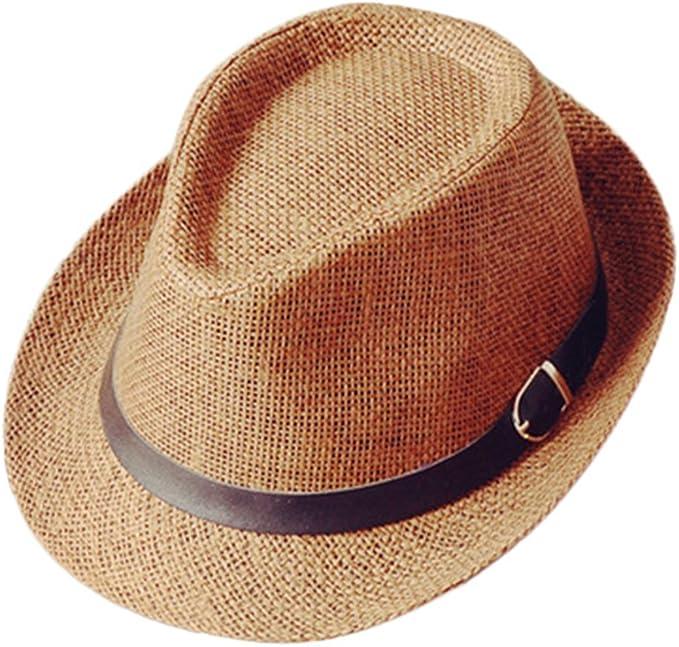 Westeng Sombrero de Paja Anti-Sol Sombrero de Jazz Anti-UV Amantes ...