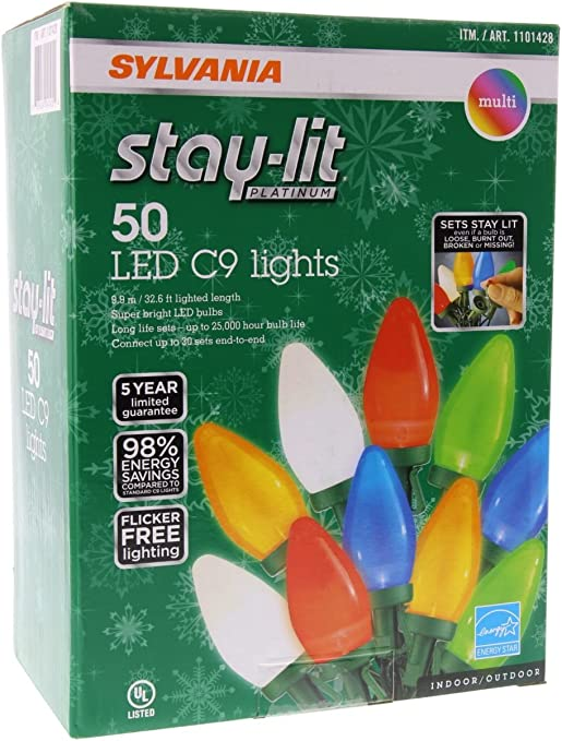 Sylvania Stay Lit Platinum Led Indoor Outdoor Christmas String Lights Multi Colored 50ct C9 Lights