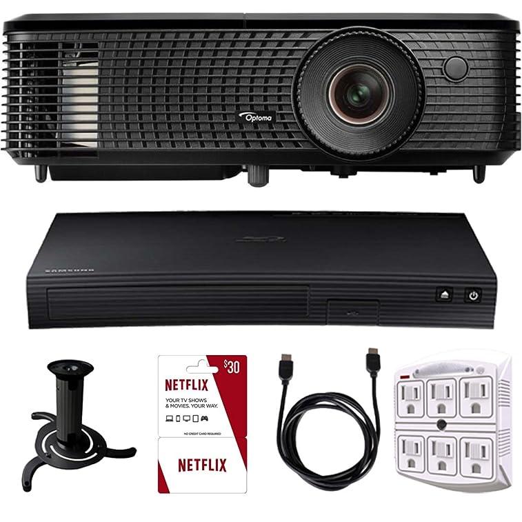 Optoma HD142X Full HD 1080p 3D DLP Home Theater Projector Samsung Bluray Netflix Kit