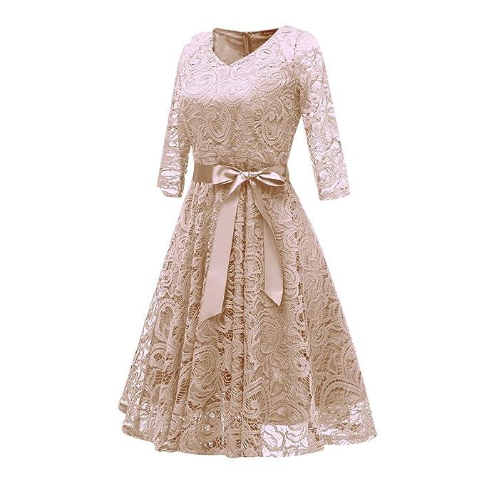 17da901010e8 Vestiti Donna Eleganti Ragazza Invernali di Moda in Pizzo Giuntura Chiffon  delle Abiti Cerimonia Rotondo Collo