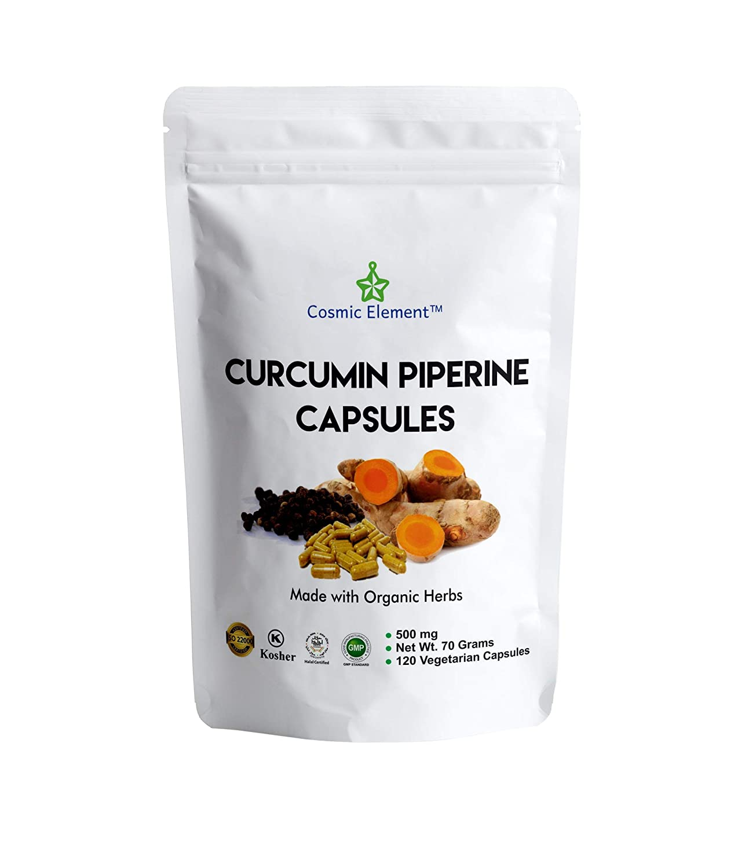 Cosmic Element USDA Organic Curcumin Piperine Capsules, Joint Pain Relief &  Anti-Inflammatory