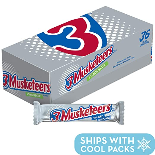 3 MUSKETEERS Chocolate Singles Size Candy Bars, 36 Count
