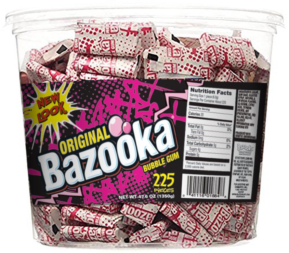 Bazooka Individually Wrapped Bubble Gum, Original Flavor, 225 Count Back to School Bulk Tub