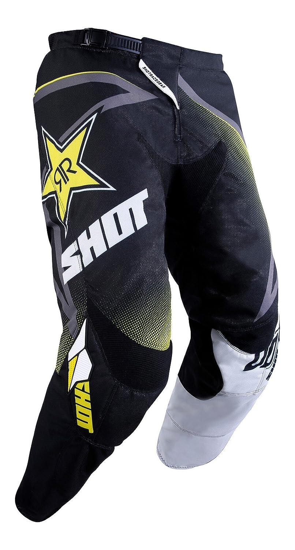 Taglia SHOT Pantaloni Cross Contatto R/éplica Rockstar 3.0 Nero//Bianco//Giallo