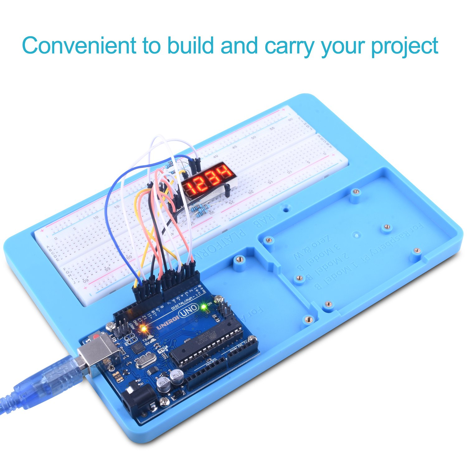 Uno Starter Kit For Arduino Uniroi Complete Project 42 Breadboarded Circuit Beginner With Detailed Tutorials Rab Holder Breadboard R3