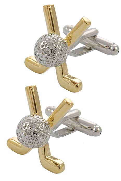 18k Gold Plated Golf Clubs and Ball Cuff Links