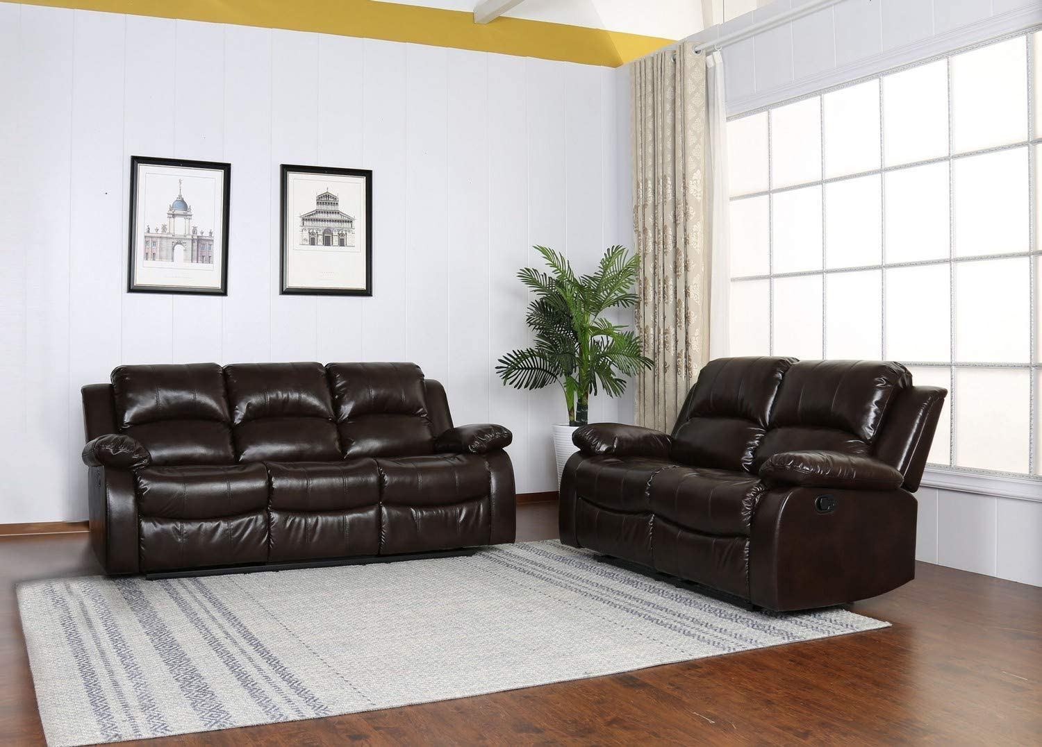 Amazon Com Blackjack Furniture 9393 Portico Collection Leather Air Mid Century Modern Living Room Reclining Loveseat Sofa Brown Furniture Decor