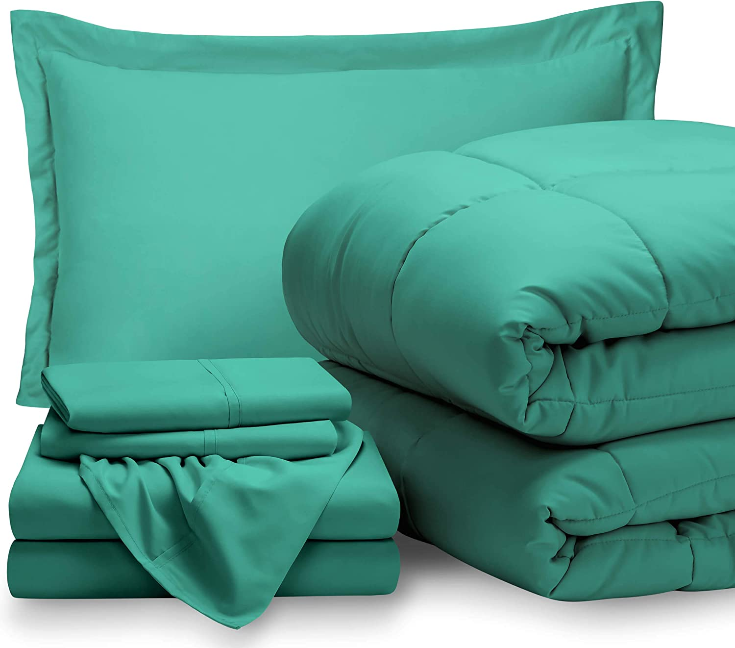 Bare Home Twin XL Sheet Set - 1800 Ultra-Soft Microfiber Bed Sheets (Twin XL, Turquoise) + Comforter Set - All Season (Twin/Twin XL, Turquoise)