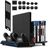 Younik PS4 / PS4 Slim vertikaler Ständer mit eingebautem Lüfter, Dual Controller Ladestation, 14 Slots für Spielhüllen und 3-Port USB-Hub - Eine Alles-In-Einem-Station für all deine PS4 / PS4 Slim, Nicht kompatibel mit dem PS4 Pro
