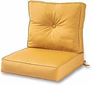 Greendale Home Fashions AZSC7830-WHEAT Harvest Outdoor 2-Piece Sunbrella Fabric Deep Seat Cushion Set