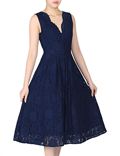 Manydress Women's Vintage Sleeveless Scalloped Floral Lace Cocktail Prom Dress