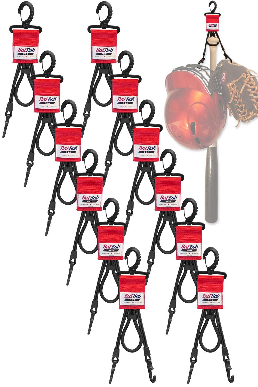 (Team 12 pack) Dugout Gear Hanger - The Dugout Organizer - For Baseball and Softball to hold bats, helmets and gloves (Red) by BatBob