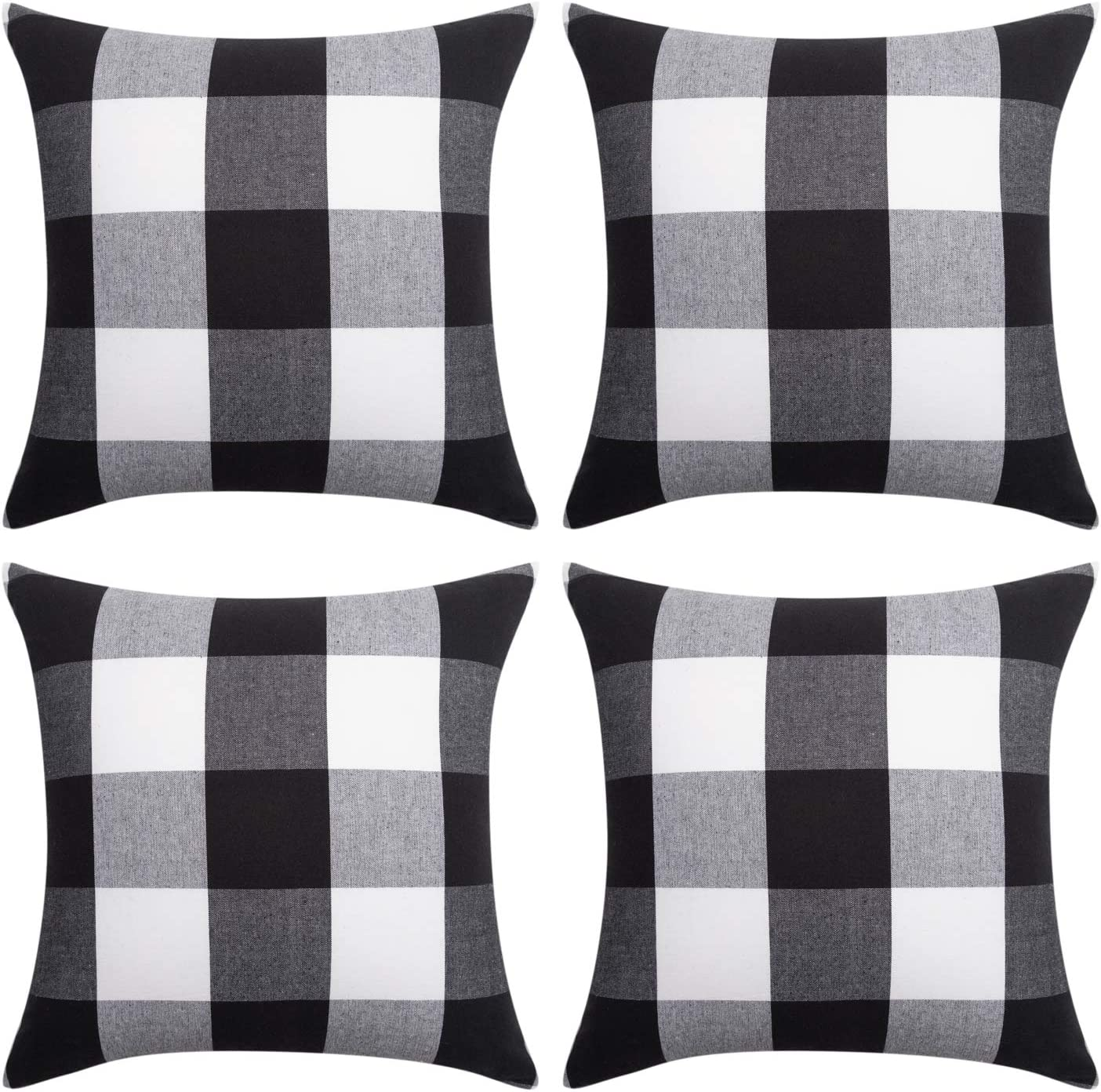 NEOVIVA Decorative Pillow Covers for 18 x 18 Inches Throw Pillow Insert, Set of 4 Buffalo Check Plaid Cotton Farmhouse Cushion Covers, Black and White