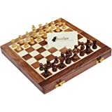 SouvNear 35.56 X 35.56 cm Deluxe Folding Staunton Chess Set in Fine Rosewood - Beautiful, Big Elegant Magnetic Hard Wood Travel Chess Set with Perfect Pieces and a Wooden Game Board with Chessmen Storage Slots