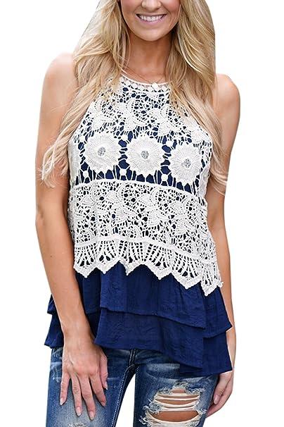 Jumojufol La Mujer Casual Crochet Floral Hollow Dobladillo Volante Top T Shirt Tank Cami Blue XS