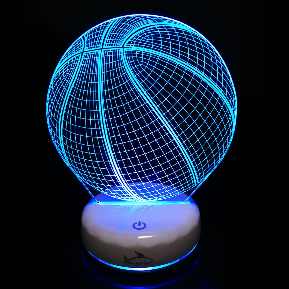 Baby LED Night Light Basketball Touch Lamps With Luminous White Base Home Decor Rechargeable 7 Colors Acrylic Light Novelty Perfect Gift For Kids/Children/Adults (Basketball)