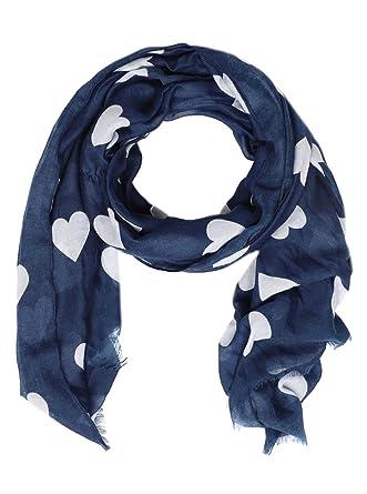 0e34115bb0ad5 Zwillingsherz Schal Damen mit Herz-Print - Eleganter Sommerschal Tuch für  Frauen - Hochwertiges
