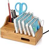 Upow Estación de Carga de Bambú natural para Multi-dispositivo con 5 Cuadros y Mini cajas Organizador de Escritorio Soporte de Carga para Iphones Samsungs Tabletas Ipads