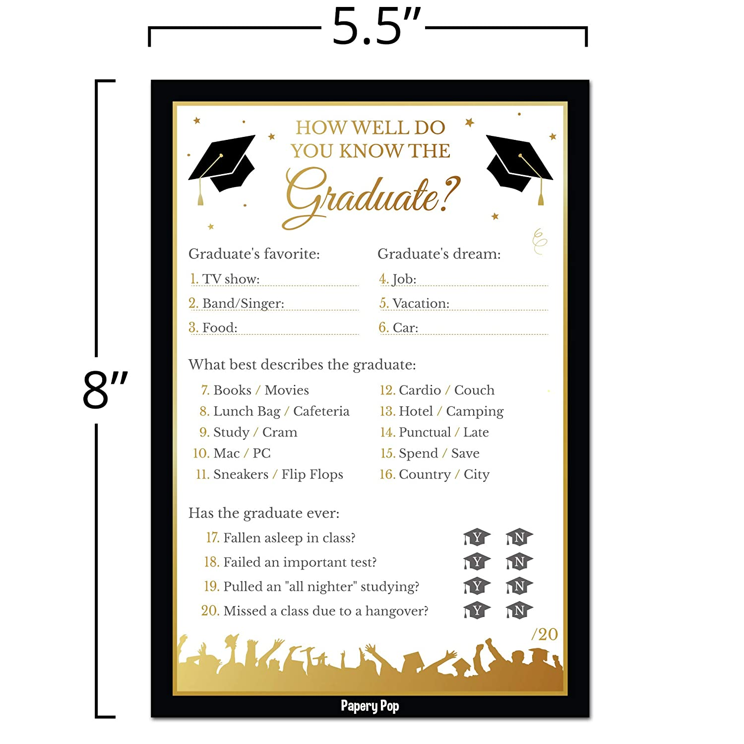 picture relating to Retirement Party Games Free Printable named 2019 How Properly Do Oneself Understand the Graduate Match Playing cards (50 Pack) - Commencement Get together Video games Suggestions Routines Materials - Grad Occasion - Significant Faculty or