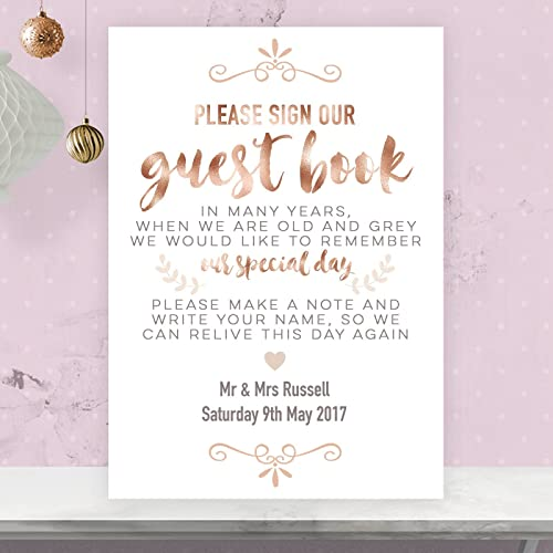 Personalised Wedding Guest Book Table Sign in Rose Gold Effect ...