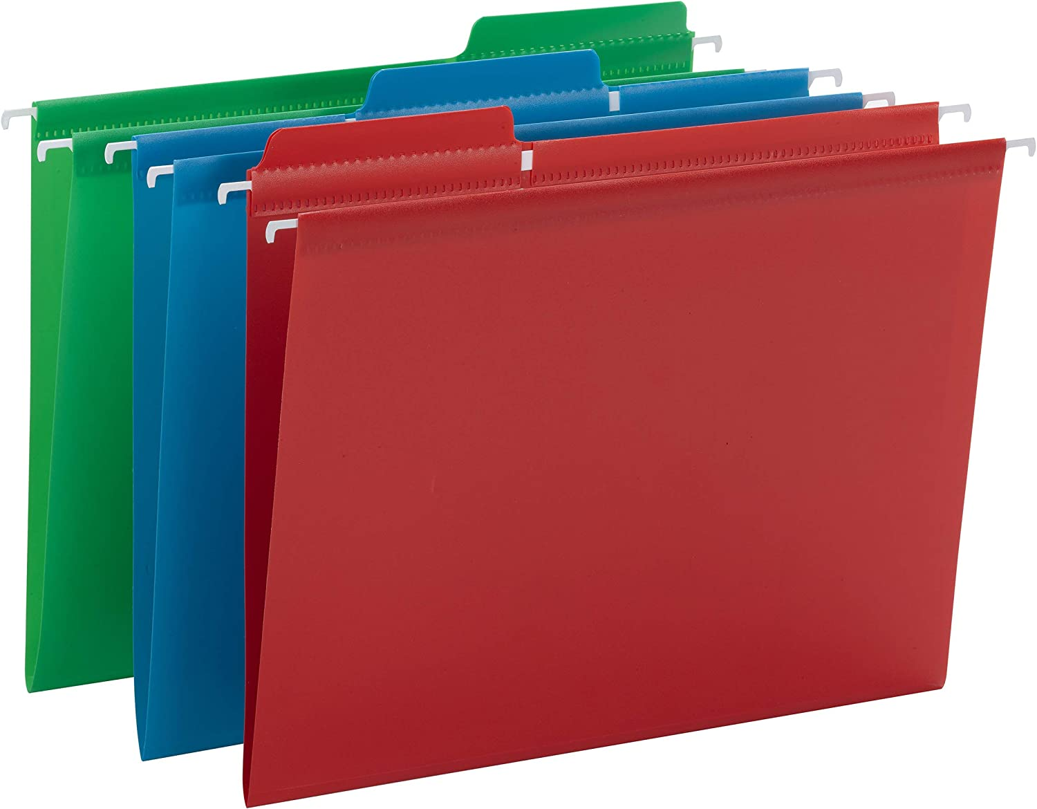 Smead Poly FasTab Hanging File Folder, 1/3-Cut Tab, Letter Size, Assorted Primary Colors, 18 per Box (64028)