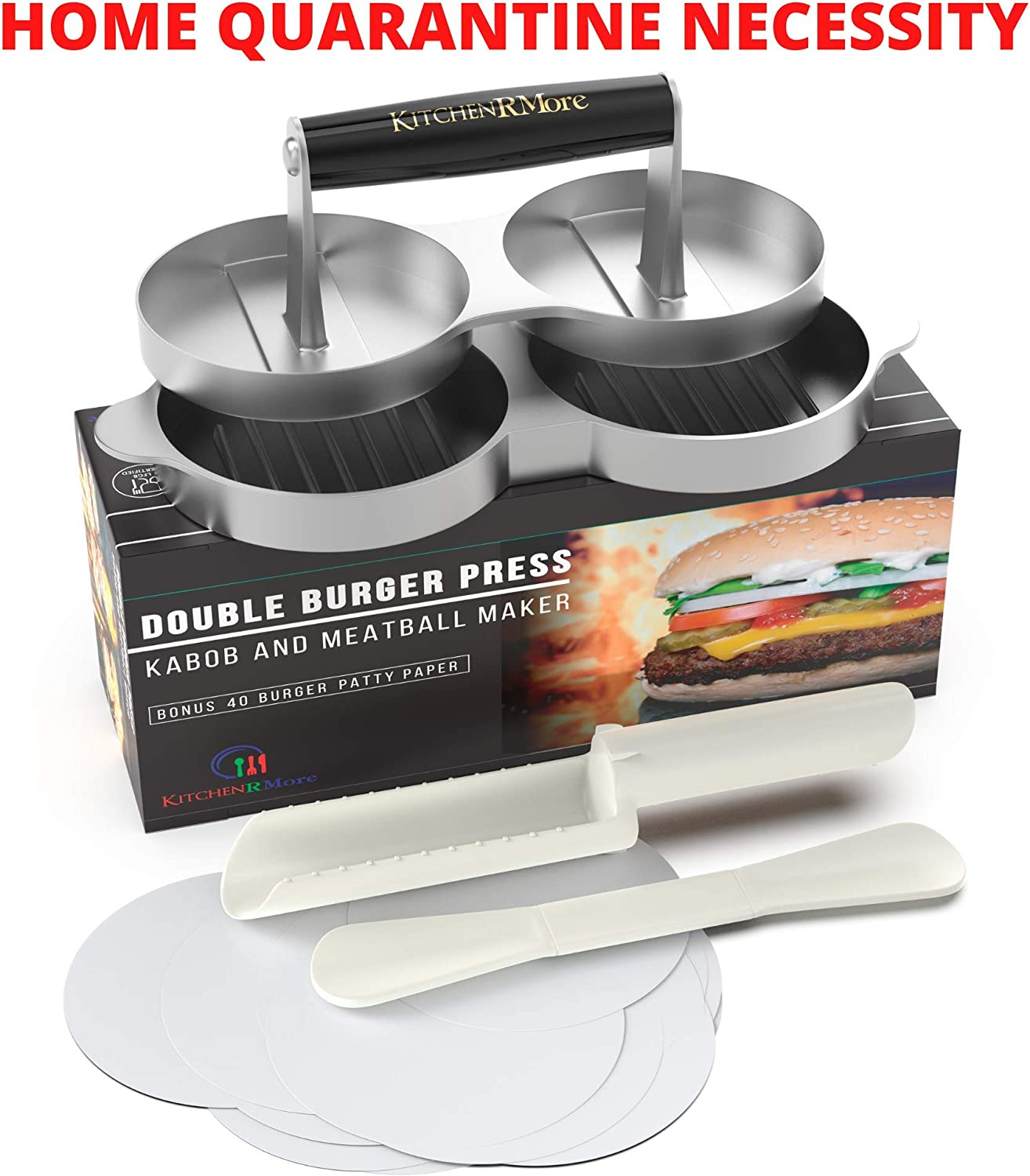 Kitchen RMore Double Burger Press + Kabob Maker + Meatball Shaper + 40 Patty Paper | Non-Stick Aluminum Hamburger Mold Grilling Accessories for Perfect Meat Patties, Veggie Burgers, Salmon Patties