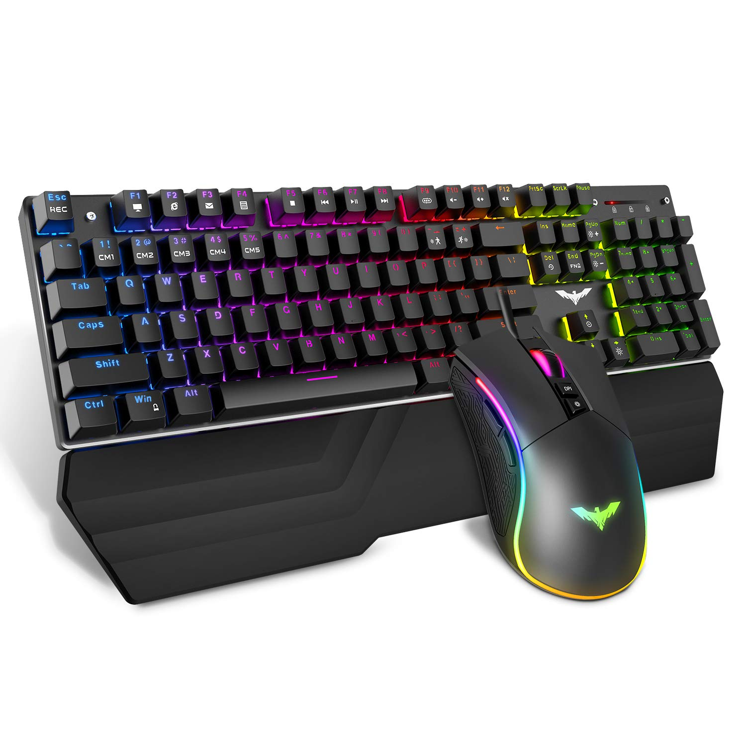 Havit Mechanical Keyboard and Mouse Combo RGB Gaming 104 Keys Blue Switches Wired USB Keyboards with Detachable Wrist Rest, Programmable Gaming Mouse for PC Gamer Computer Desktop