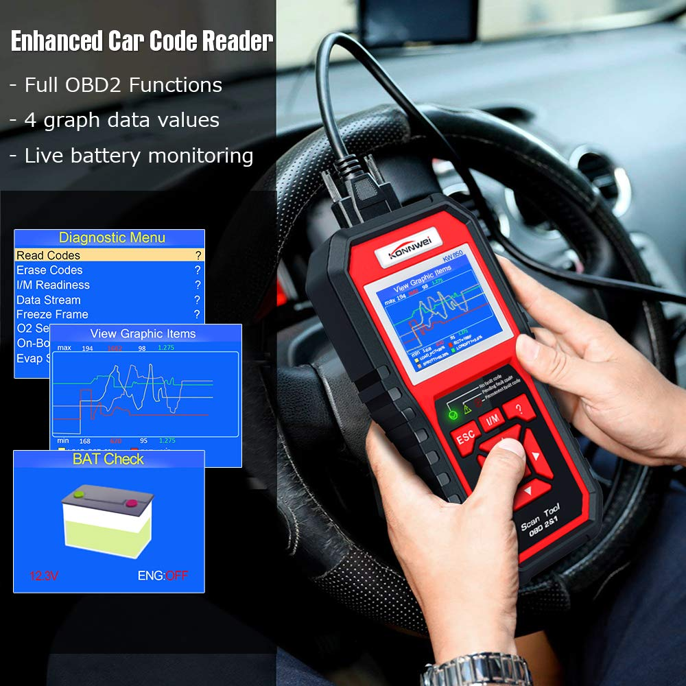 KONNWEI OBD2 Scanner Code Reader Professional OBD II Code Scanner Auto Diagnostic Check Engine Light Scan Tool for All OBD II Car After 1996 (Enhanced Version) by KONNWEI (Image #8)