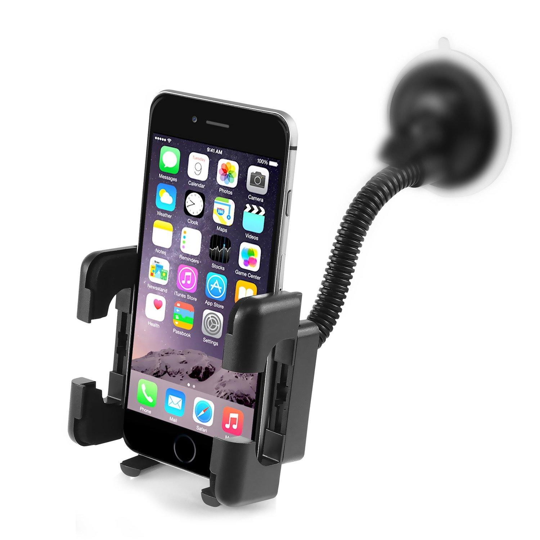 Amazon com insten car mount long arm univeral windshield car phone holder cradle for iphone x 8 plus 8 7 7 plus 6s plus samsung galaxy s7 edge s7 on5 ace