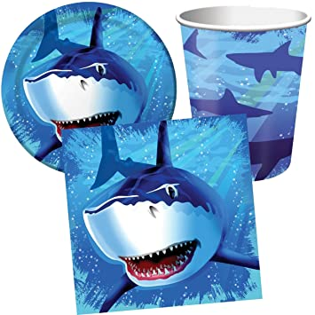 32 piezas Party * Tiburón/Tiburón * con 8 platos, 8 vasos y ...