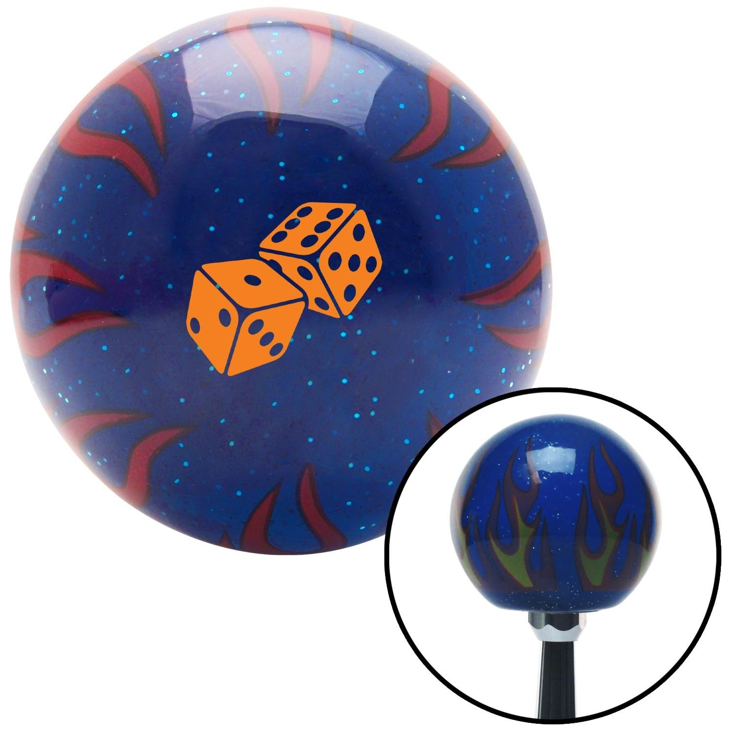 American Shifter 297840 Shift Knob Orange Set of Dice Blue Flame Metal Flake with M16 x 1.5 Insert