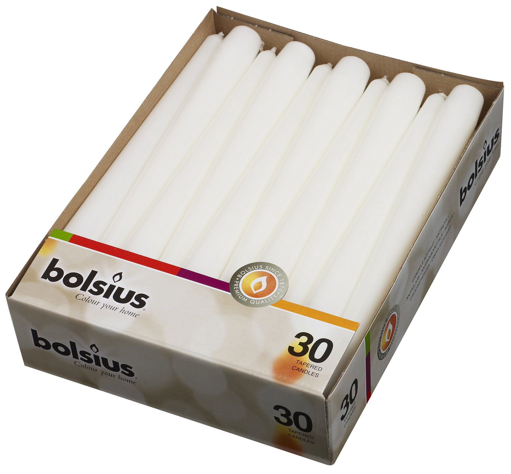 Bolsius Set of 30 White Tapered Candles 10 Inch