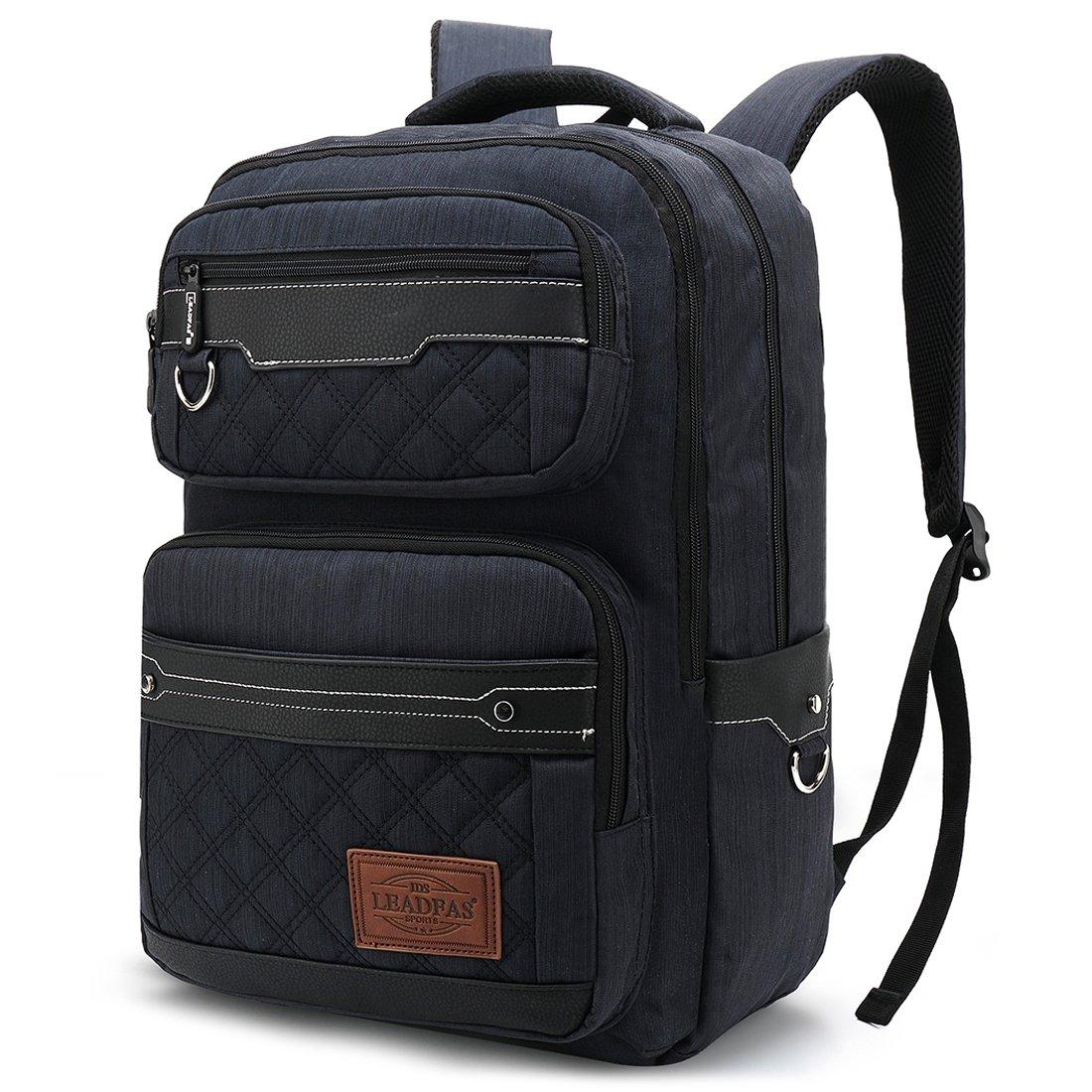 Water Resistant Backpack High School Big Student Bookbag 15 Inch Laptop Bag (Black)