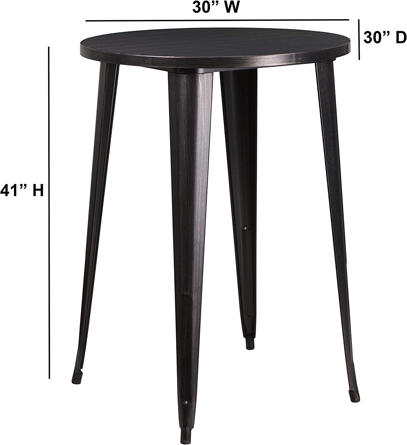 Flash Furniture 30 Round Black-Antique Gold Metal Indoor-Outdoor Bar Height Table 2 Pack