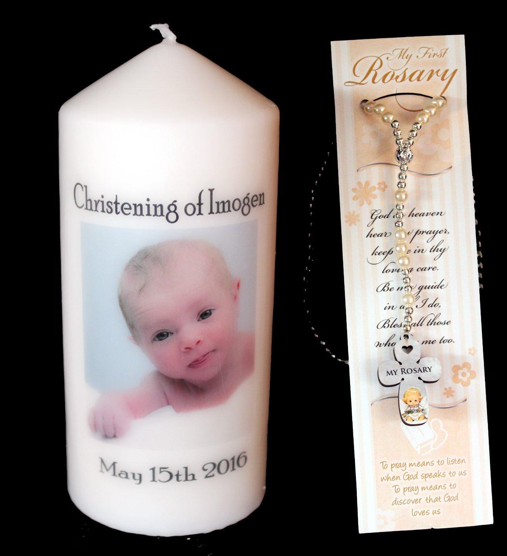 Bautizo vela, regalo personalizable con fotos y propio mensaje viene con primer rosario para niño cuentas de bebé niño o bebé niña presente Cellini Candles