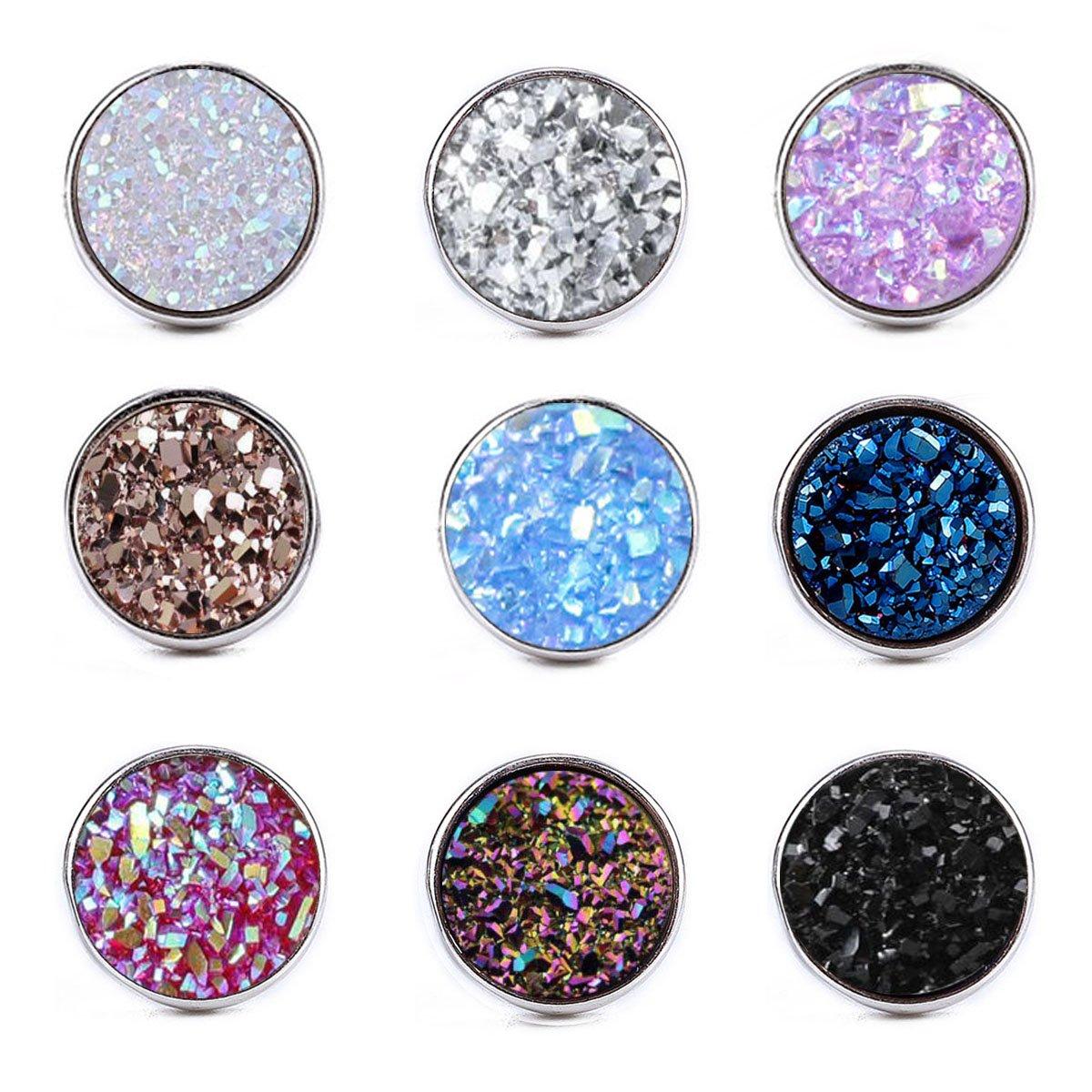 Dolovely Stainless Steel Druzy Stud Earrings Set for Girls Women Hypoallergenic Pierced Earrings 9 Pairs
