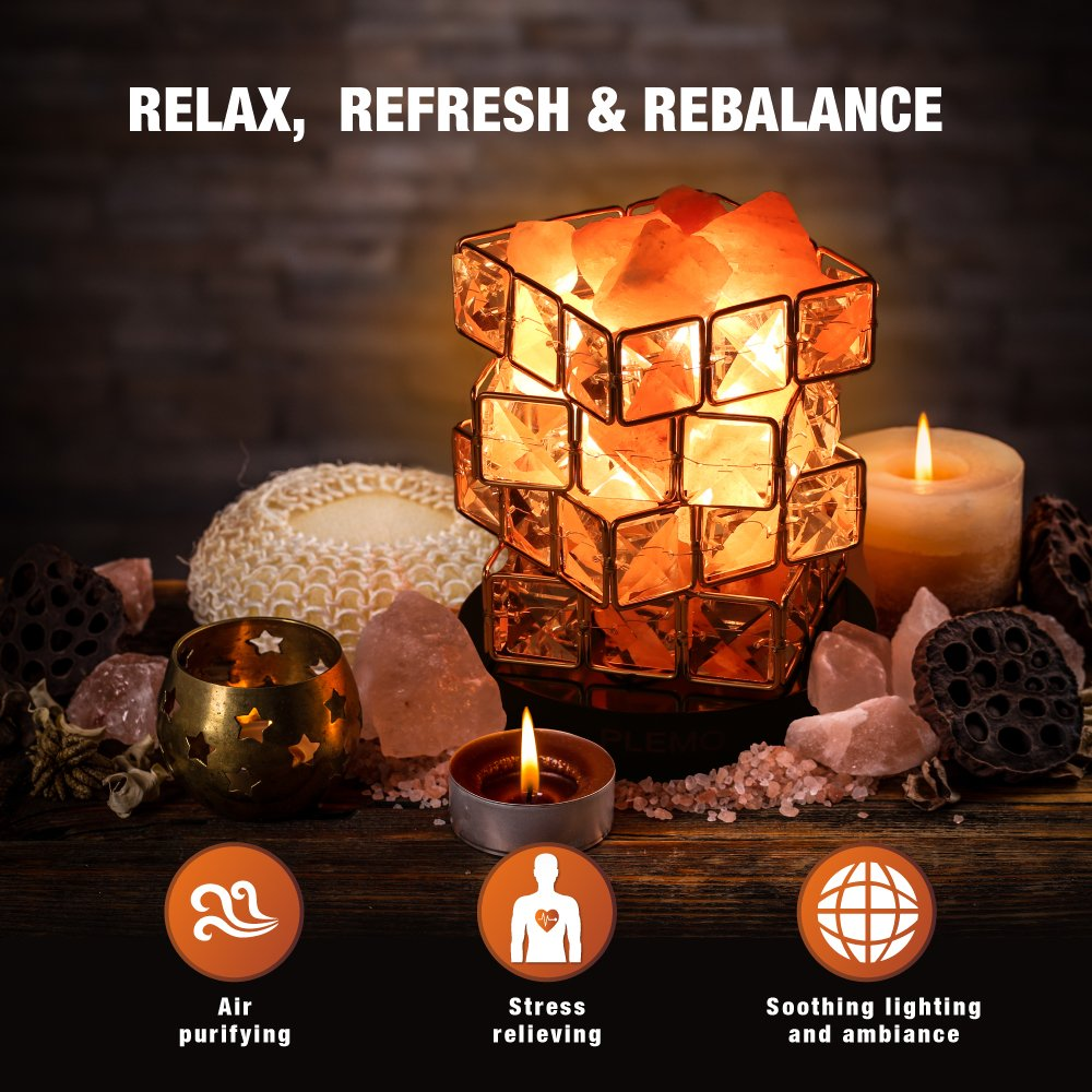 Plemo Himalayan Salt Lamp, Hand Carved Natural Amber Crystal Rock, Brightness Dimmable Control and Luxury Gift Box, 2 Bulbs